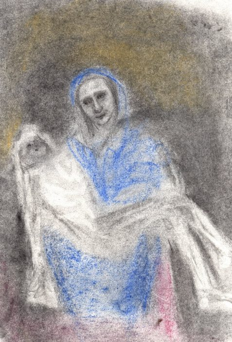 Pastel drawing of pieta-like mother and corpse