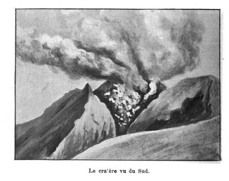 1902 Jean Hess drawing of Mount Pelee in eruption