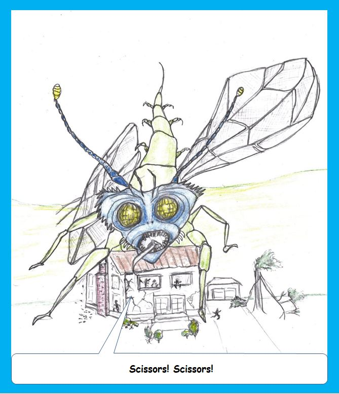 Cartoon of giant outer space insect