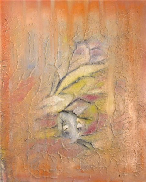 Oil painting of abstract faces and branching lines
