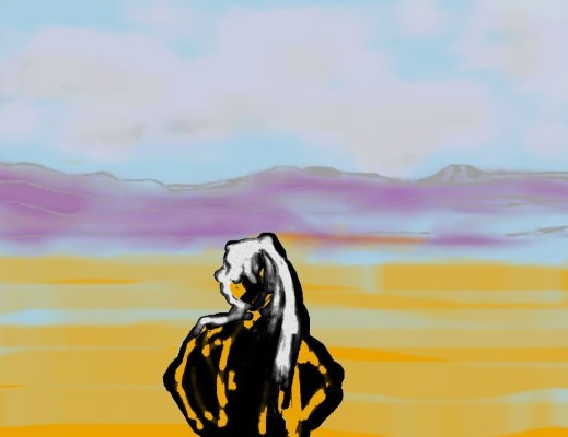 Uncollected Poems woman stands before southwestern landscape art for poem The Lengthy Story