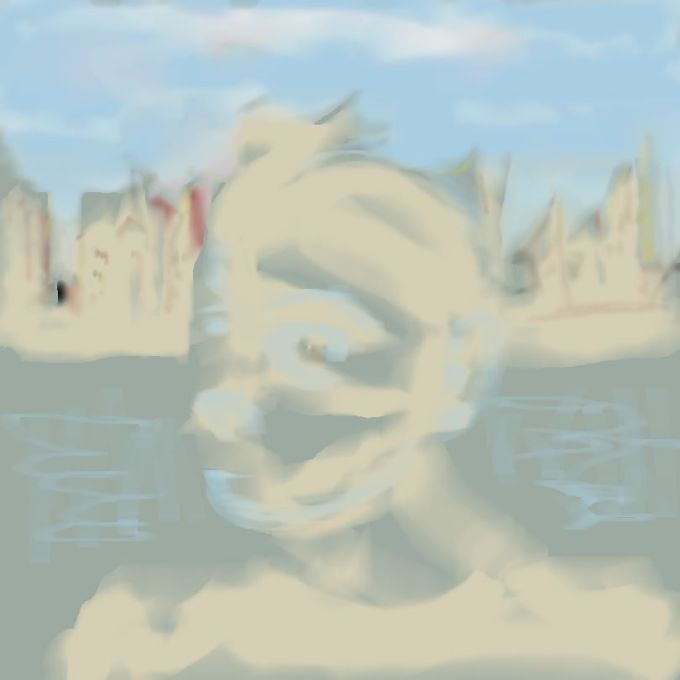 Digital art of man at existenial moment on waterfront