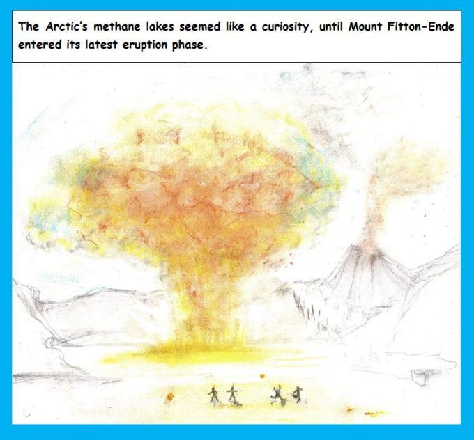 Cartoon of Alaskan methane lake and exploding volcano