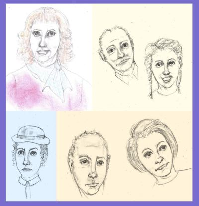 Uncollected Poems pencil sketches in cartoon style of book characters art for The Blurbs
