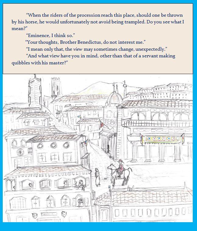 Cartoon of Italian Renaissance city