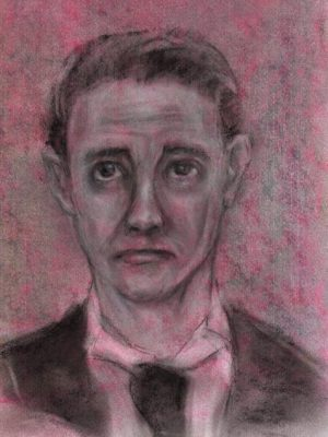 Pastel drawing of unhappy young man in dinner suit