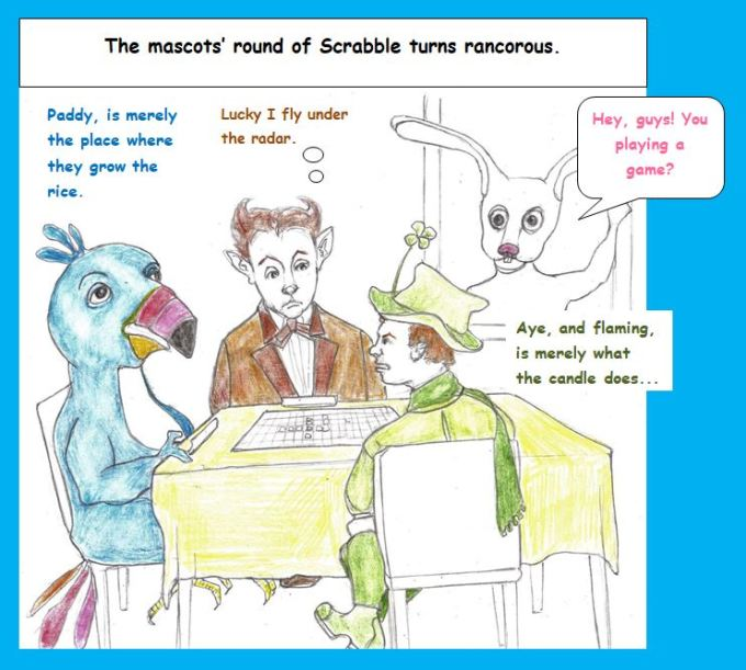 Cartoon of cereal mascots bickering over Scrabble