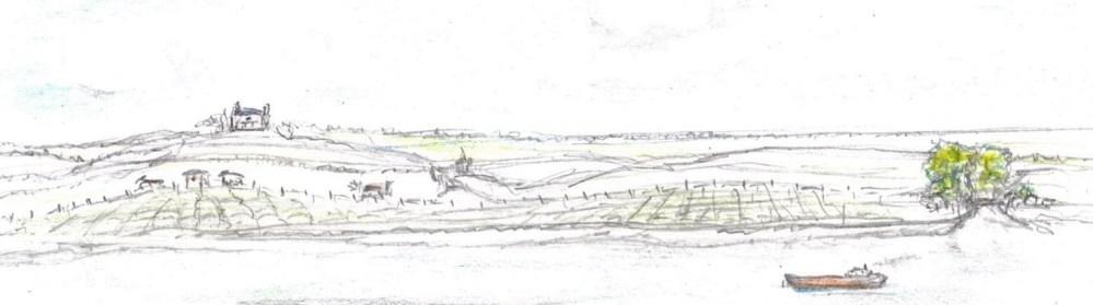 Pencil drawing of Ohio river farmland