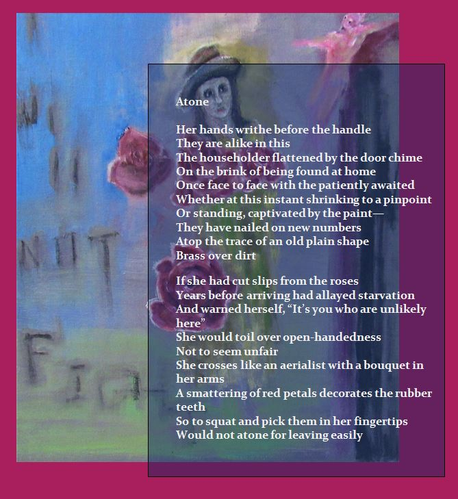 Mystery Plays text and image of woman with roses poem Atone