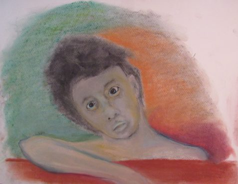 pastel drawing of child-like figure feeling disbelieving art for poem A Chatterbug's Memoires
