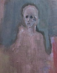 Oil painting cameo emaciated figure face of dismayed resignation