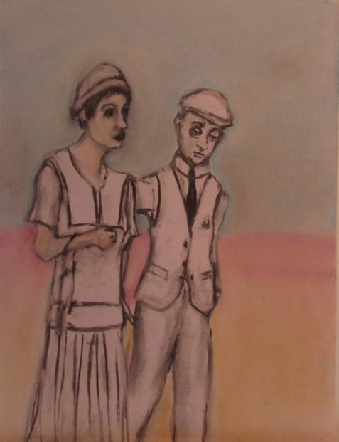 Charcoal and pastel drawing of puny man walking beside woman in 1920s dress