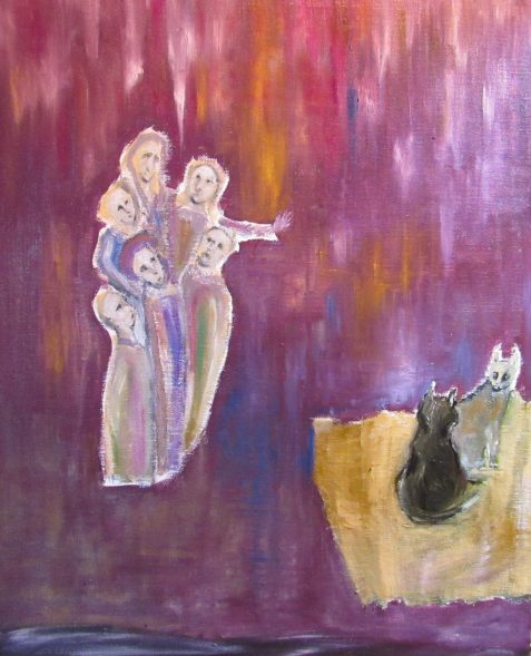 Oil painting of medieval apostles and fighting cats