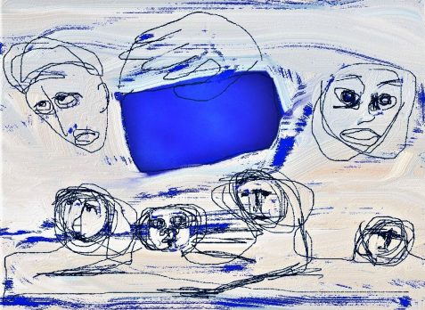 Digital drawing of panicked figures and deep blue window