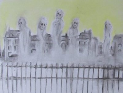 Wake ghostly shapes rise behind an iron fence with mansard-roofed buidings in background art for poem She Foundered