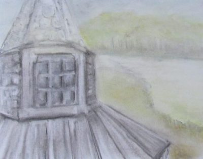 Charcoal and pastel drawing of slate-tiled tower at riverside