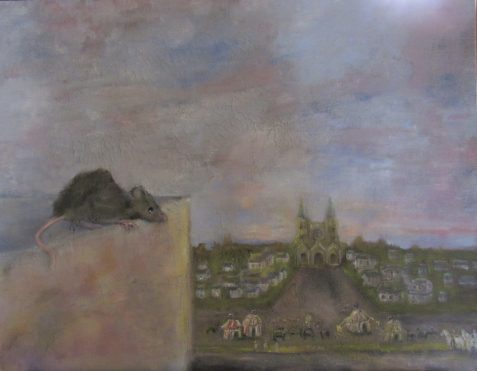 Oil painting of rat on tower block overlooking medieval Cathedral