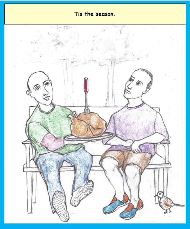 Cartoon of two men on outdoor bench sharing holiday turkey
