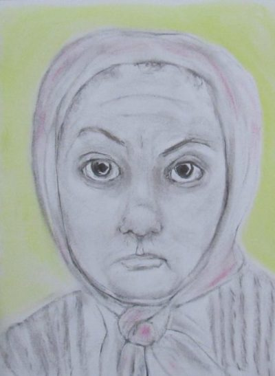 Wake a working class Victorian woman in headscarf art for poem Truth for the Victim