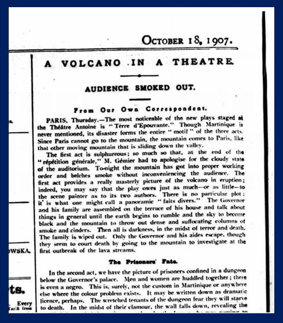 Newspaper clipping of theater review play based on Mount Pelee disaster