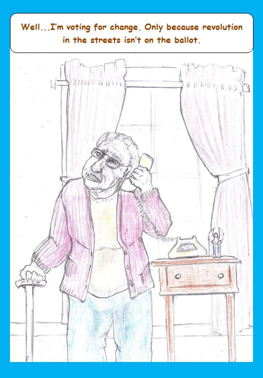 Cartoon of old woman on phone with vote-solicitor