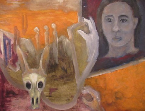 Southwestern landscape troubled woman Jackalope skull art for poem Wrong Again