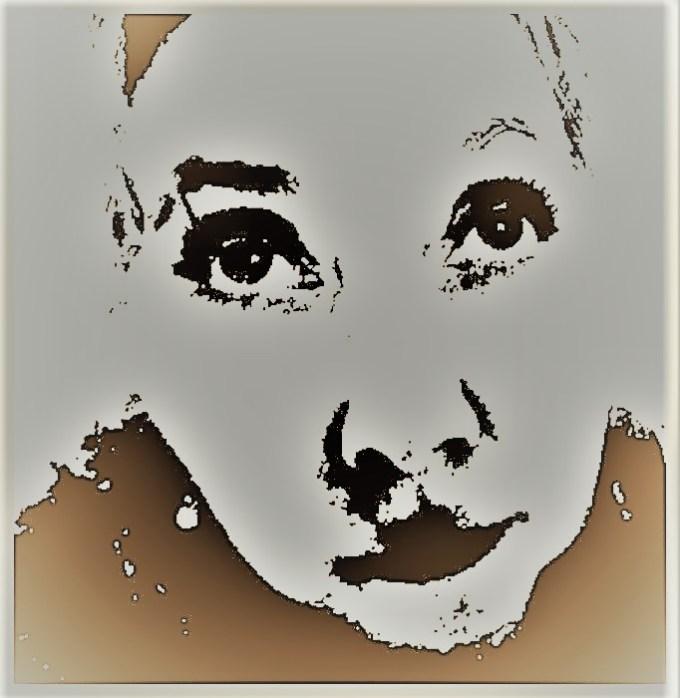 Stylized photo Warhol-like glamour shot of woman