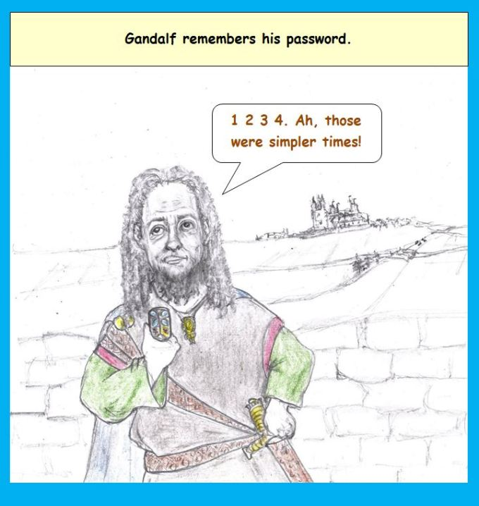 Cartoon of Gandalf using cell phone