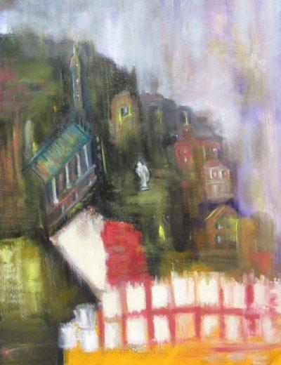 Oil painting of city on hillside