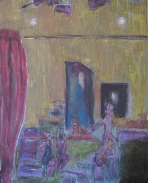 Oil painting of under-street club scene