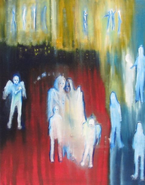 Oil painting of angelic procession