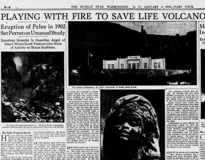 Newspaper clipping 1930s volcanic science