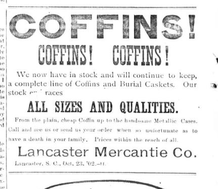 Newspaper clipping 1900s advertising for coffins