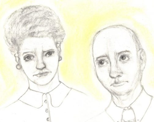 Pencil and pastel drawing of woman and man feeling distressed