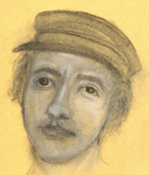 Charcoal and chalk drawing of young Irishman