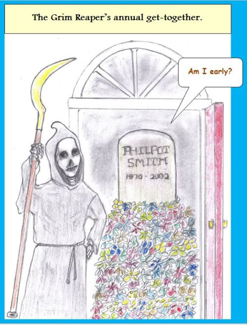 Cartoon Grim Reaper and early grave