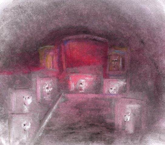 Pastel drawing figures in coffin-like seats around table