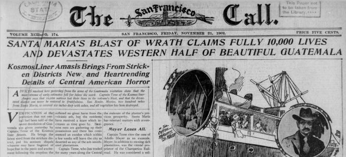 Newspaper clipping 1902 Santa Maria Guatemala volcano explosion