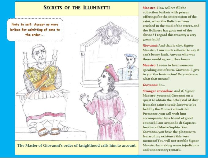 Cartoon of Renaissance era knight in disgrace with his master