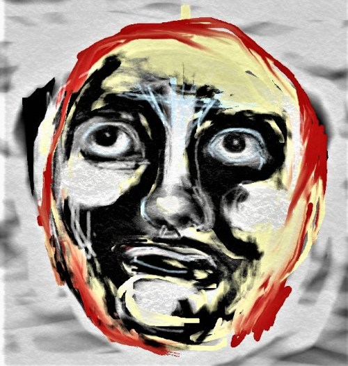 Digital painting of grimacing face