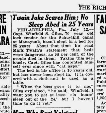 Newspaper clipping describes lockkeeper who won't sleep in bed