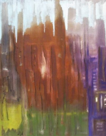 Oil painting of city-scape