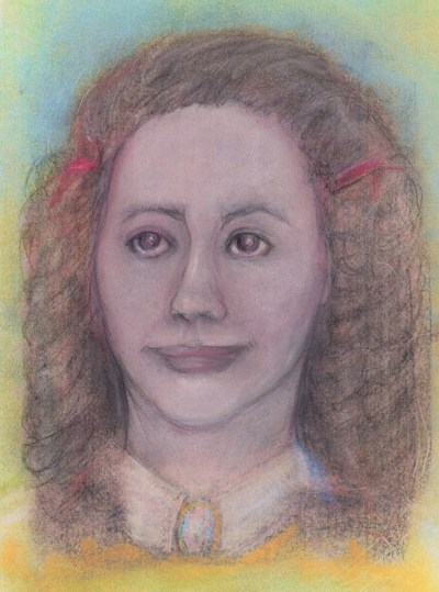 Pastel and pencil drawing of 19th century girl, character Elucide