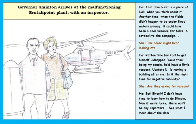 Cartoon of two people leaving a helicopter