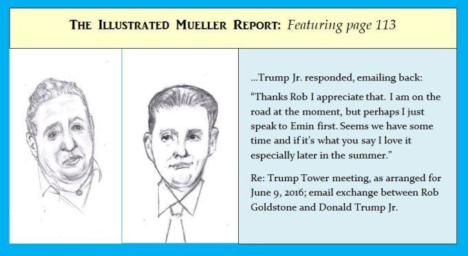 Cartoon of Mueller Report figures arranging meeting