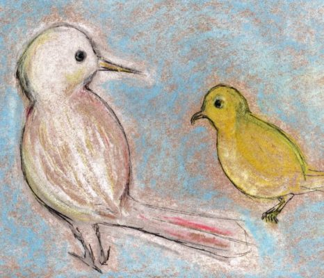 Pastel and ink drawing of white and yellow birds