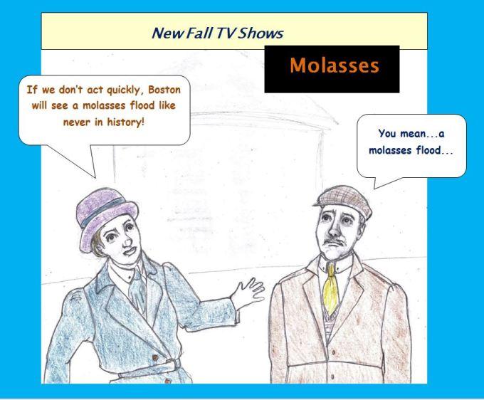 Cartoon of Boston molasses flood