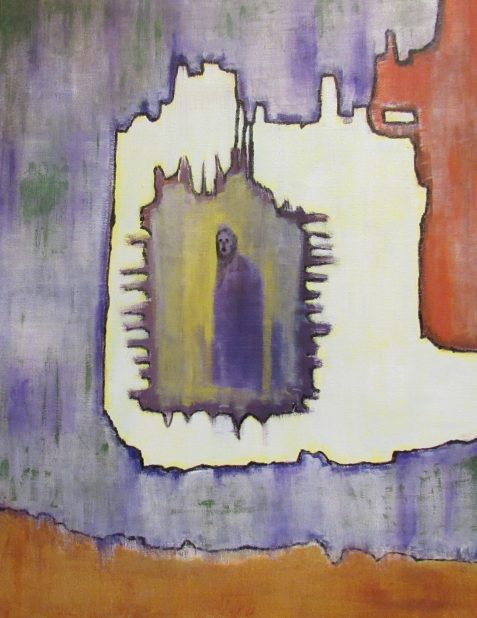 Oil Painting of cloaked figure in abstract background