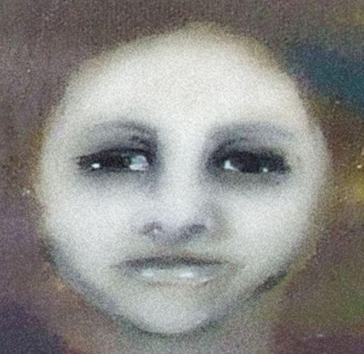 Digital painting of moonlike woman's face