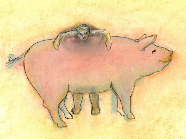 Pastel and ink drawing of pig and handler